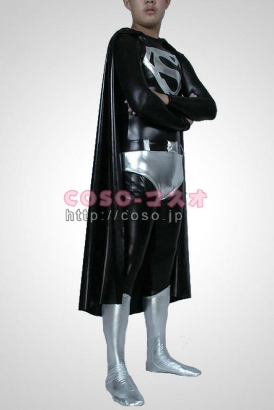 スーパーマン ブラックとホワイト メタリック Superman コスプレ用コスチューム―8taitsu0012