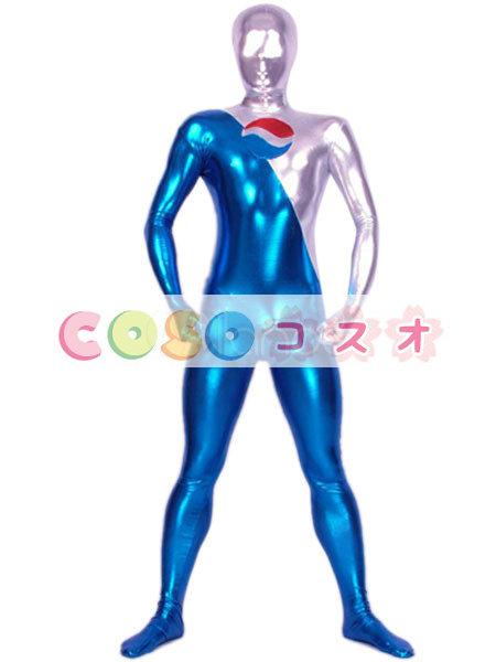 メタリック 全身タイツ ユニセックス 大人用 カラーブロック コスチューム衣装 ―taitsu-tights0116
