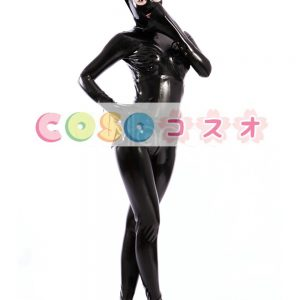 ラテックスキャットスーツ,ブラック 女性用 目と口が開いている コスチューム―taitsu-tights0529