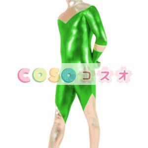 メタリック全身タイツ,グリーン&シルバー 開口部がない 男性用 大人用 コスチューム衣装―taitsu-tights0941