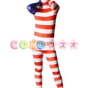 全身タイツ アメリカンの国旗柄 ユニセックス 大人用 コスチューム衣装 コスプレ ―taitsu-tights1224