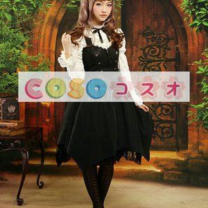 ロリータ衣装,ブラック ホルターネック ドローストリング ゴシック ―Lolita0075