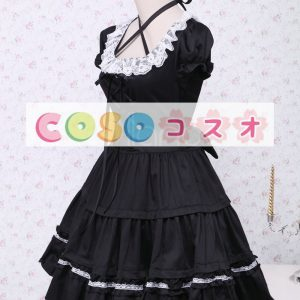 コットン ロリィタワンピース 半袖 ブラック レースアップ 白いレーストリム ―Lolita0136