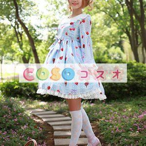 かわいい長袖弓シフォン ロリータ ワンピース ―Lolita0245
