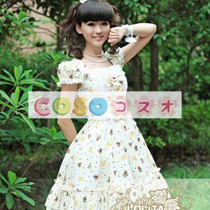 スクエア ネック ベージュ ピュア コットン カントリーロリータ ドレス ―Lolita0357