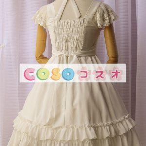 女性の白いフリルの付いたシフォン カントリーロリータ ドレス ―Lolita0427