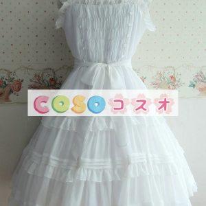 白は女性のフリルの付いたポリエステルのロリータ ドレスを弓します。 ―Lolita0625