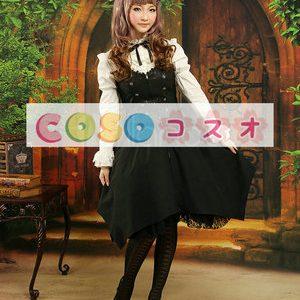 ロリータセパレート ブラック&ホワイト 姫袖 ロングスリーブ ゴシック リボン  ―Lolita0863
