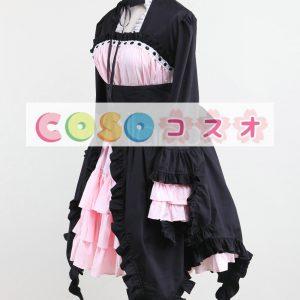 ロリータセパレート,ブラック&ピンク 姫袖 ロングスリーブ スィート コットン  ―Lolita0898
