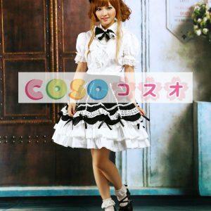 ロリィタ服 セットアップ ホワイト&ブラック フリル レーストリム ―Lolita0899