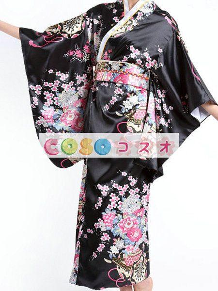 ハロウィングッズ ジャパニーズ 女性用 大人用 着物 ブラック―festival-0011 1