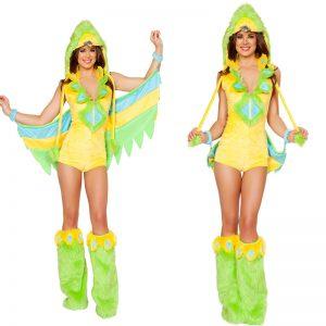 コスチューム衣装  グリーン 合成繊維 動物 女性用 スーツ 新作 大人用 ハロウィン -halloween-trz0725-0373