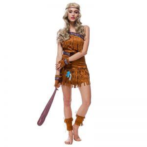 インディアン 先住民族 コスプレ衣装 ハロウィン 仮装パーティー タッセル-Halloween-trw0725-0411