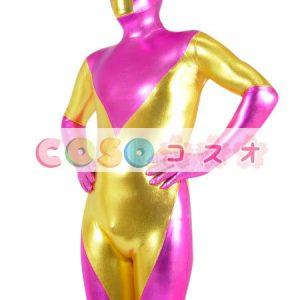 メタリック全身タイツ フクシア×ゴールド 大人用 開口部がない コスチューム衣装 ―taitsu-tights0469