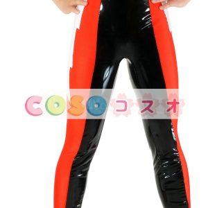 全身タイツ PVC ズボン ブラック&レッド ユニセックス 大人用 カラーブロック レスリング―taitsu-tights0952