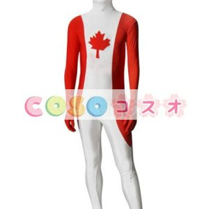 全身タイツ,カナダの国旗柄 ユニセックス 大人用 コスチューム衣装 コスプレ ―taitsu-tights1343