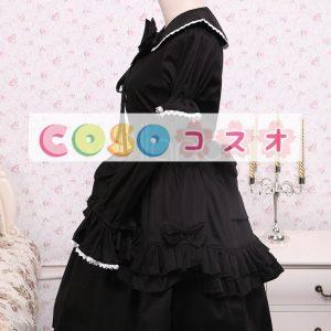 コットン ブラック ロリィタワンピース レースアップ フリル リボン 長袖 ―Lolita0059