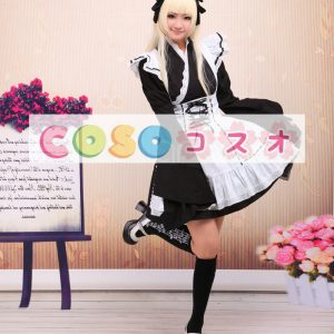 コットン ロリィタワンピース 白いエプロン 長袖 レースアップ ―Lolita0102