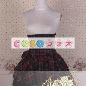 ギンガム ハイウェスト ロリィタスカート サロペットスカート ボタン リボン フリル―Lolita0137