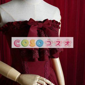 コルセット シャーリング レトロ コットン パーティー ワインレッド  ―Lolita0233