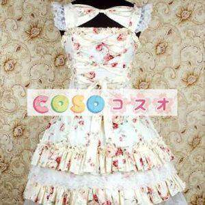 かわいいノースリーブ コットン ベージュ ロリータ ドレス ―Lolita0243