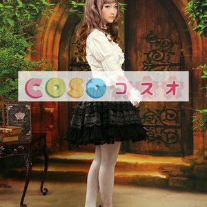 ロリータセパレート,ホワイト&ブラック ロングスリーブ ゴシック 姫袖 リボン  ―Lolita0877
