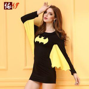ハロウィン ブラック バットウーマン コスチューム セクシー スーパーヒーロー コスチュームコ-halloween-trz0725-0188