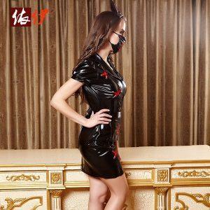 コスチューム衣装 看護師 セクシー ハロウィン ナース服 ブラック 大人用 女性用 -halloween-trz0725-0297