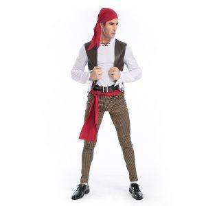 Pirate カリビアン 大人用 海賊 船長  ハロウィン cosplay 舞台演出服 コスプレ衣装-Halloween-trw0725-0243