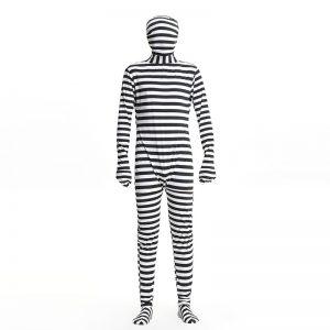 コスプレ 囚人服 囚人コスプレ ハロウィン 仮装 コスチューム黒/白 Men's 男性用 ハロウィン衣装-Halloween-trw0725-0489