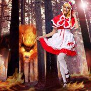 赤ずきんちゃん かつら 靴 ハロウィン コスプレ-Halloween-trw0725-0071 3